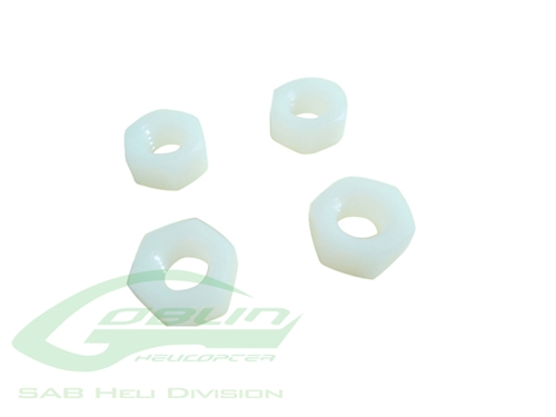 Picture of SAB M8 H6.5 Nylon Hex Nuts (4pcs)- Goblin 500/630/700/770